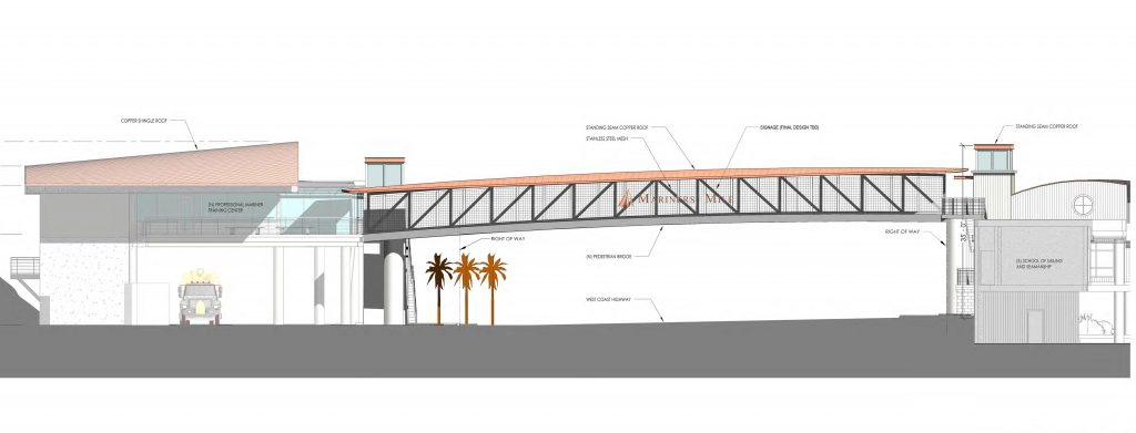 An artist's rendering of the eastbound view of the recently approved pedestrian bridge planned to cross West Coast Highway near the eastern entrance to Mariners' Mile in Newport Beach. — Rendering by HPI Architecture/courtesy CA Coastal Commission