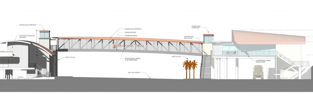An artist's rendering of the westbound view of the recently approved pedestrian bridge planned to cross West Coast Highway near the eastern entrance to Mariners' Mile in Newport Beach. — Rendering by HPI Architecture/courtesy CA Coastal Commission