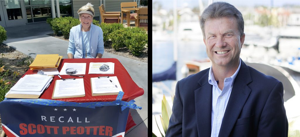(left) Resident Nancy Skinner at a Recall Scott Peotter Committee table at OASIS Senior Center in Corona del Mar last week. (right) Newport Beach City Councilman Scott Peotter. — Photos by Christopher Trela (left), and Sara Hall (right) ©