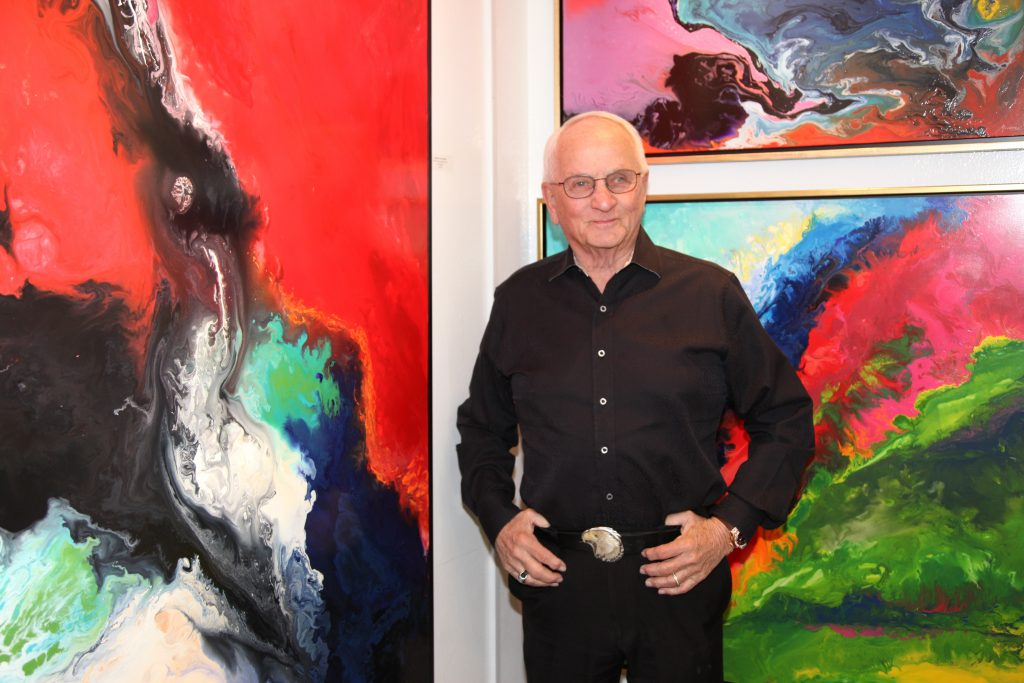 Orange County artist Dick Marconi surrounded by his work, which will be featured at an exhibition this weekend at a Newport Beach art gallery.  — Photo courtesy Ethos Contemporary Art ©