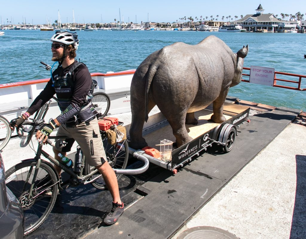 Cyclist Matt Meyer and his rhino aboard the Balboa Ferry. — Photo by Jim Collins ©